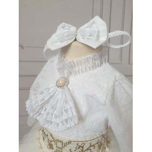 Set elegant alb cu ivoire de botez vara Yasmine - body si tutu