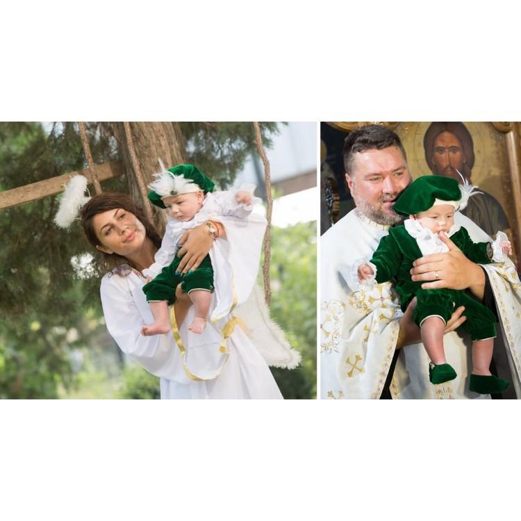 Costum de botez baiat Robin pantalon lung, print catifea, 6 piese, dvb37