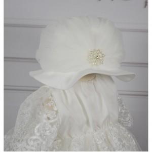 Rochita de botez alb-ivoire CHARLIZE din dantela, 4 piese