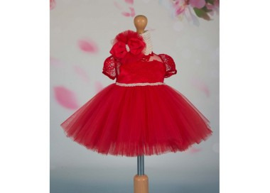 Rochita de botez vara VICTORIA din dantela rosie si tull cu margelute, 3 piese