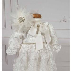Rochite de botez alba fetite Roberta- set elegant superb din dantela alba, 4 piese