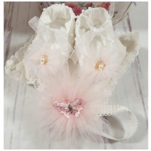 Rochita alba cu roz de botez vara 3 piese, Lolilop