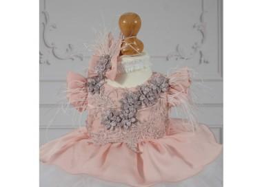 Rochita de botez vara dantela perle roz si tull 3 piese, TESS