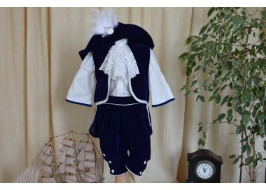 Costum botez baiat print catifea albastra D Artagnan, 5 piese