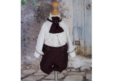Costum de vara botez baiat elegant stofa bordo, Narcisse