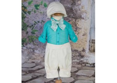 Costume de botez baiat French Riviera de vara turquoise, 5 piese