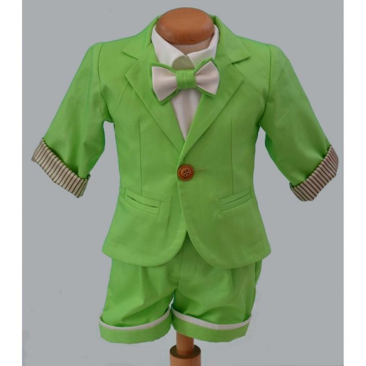 Costum de botez baiat pentru vara bumbac verde 6 piese, Forest