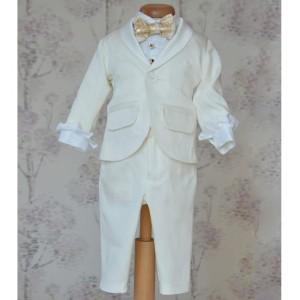 Costum botez baiat de vara cu bumbac ivoire CAVALIERE, 6 piese