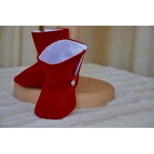 Costum de botez baiat THOMAS, set catifea rosie stofa bleumarin, 6 piese, dvb69