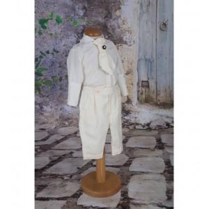 Costumas de botez baiat de vara Vanilla, din tesatura ivoire 6 piese