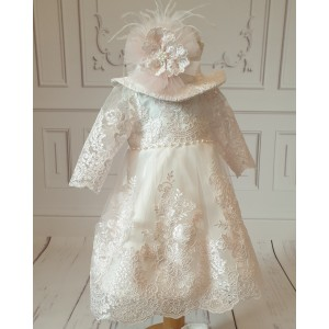Rochita de botez roz bebe fetite Antoinette - set elegant organza si dantela