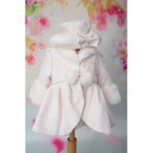 Set palton de botez bebelusi fetite pentru iarna, 3 Piese, Alba Ca Zapada