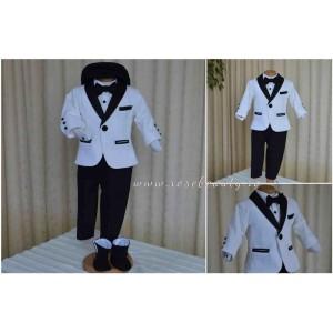 Costum de botez baiat, Black and White catifea alba stofa neagra, 6 piese, dvb33