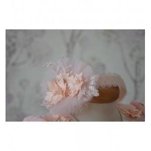 Rochie de botez vara fetite ECLIPSE corai cu paltonas, 4 piese