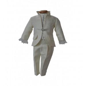 Costum de botez alb-ivoire baiat set elegant AVORIO din brocart ivoire, 6 piese