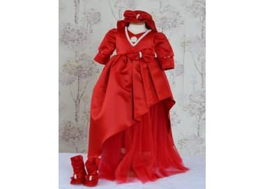 Rochita de botez rosie fetite RED ROSE- set elegant din tafta, 3 piese