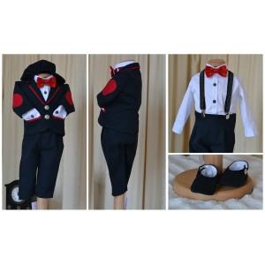 Costum de botez baieti, din stofa si bumbac British Boy, 6 piese, dvb63