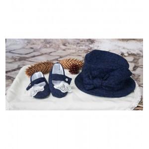 Costum de Botez print baiat bleumarin Henry din brocart, 6 piese
