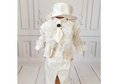 Costum de botez alb-ivoire baiat Fabian din brocart ivoire, 6 piese