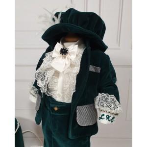 Costum de botez toamna-iarna catifea verde print baiat LUKAS, 6 piese