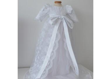 Rochita alba de botez catolic ANGEL - set dantela alba, 3 piese