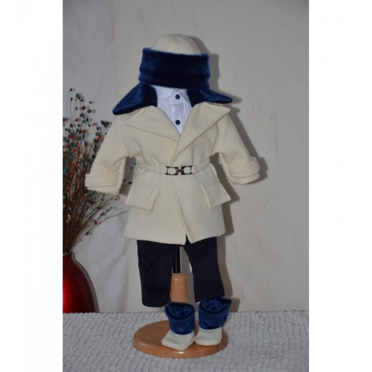 Costum si palton de botez baiat toamna-iarna din lana, 5 piese, Jakob