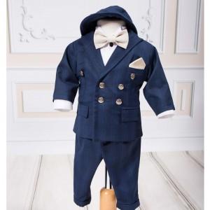 Costum de Botez Toamna-Iarna Little Gentleman stofa albastra, 7 piese