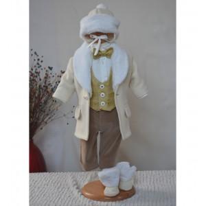 Costum cu palton de botez baiat toamna-iarna 6 piese, Rafael