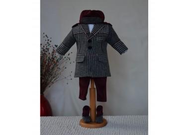 Costum botez baiat toamna-iarna CARTER cu paltonas calduros, 6 piese