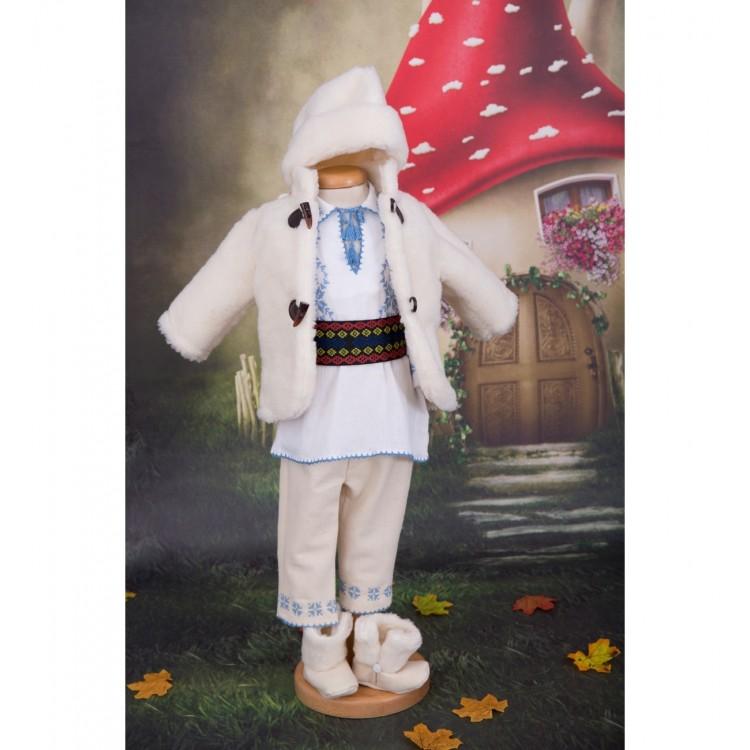 Costum traditional popular de botez toamna-iarna cu cojoc Micul Romanas