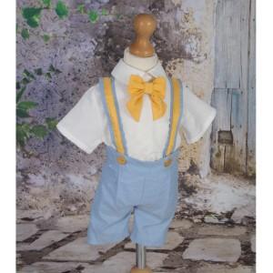 Costum de botez vara baiat BENNY din stofa bleu, 5 piese