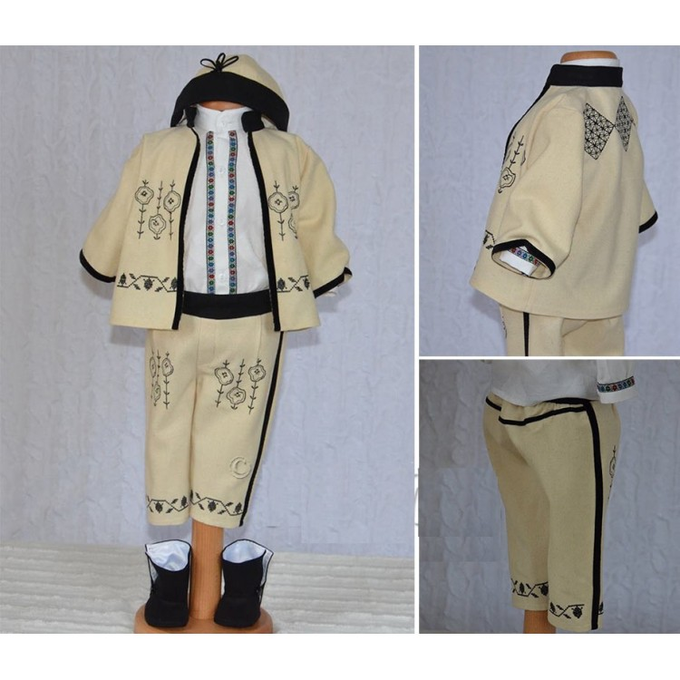 Costum traditional botez baiat IOAN pentru Toamna, din lana brodata 5 piese