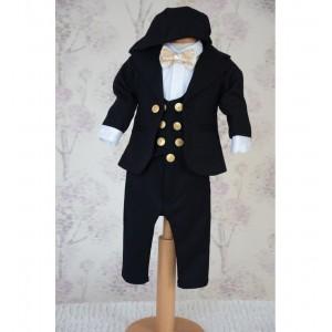 Costum de botez baiat toamna-iarna cu vesta catifea bleumarin 7 piese, ROBERT