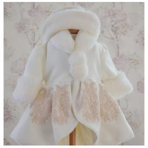 Palton de botez bebelusi fetite SNOW Toamna-Iarna ocazii speciale, 3 piese