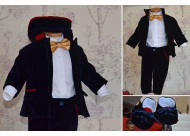 Costum de botez baiat Primavara Navy Jacket catifea bleumarin, 6 piese