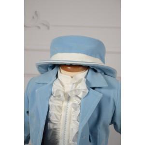 Set costum bleu, lumanare si trusou de botez Valois