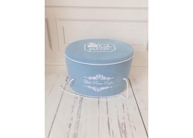Cutie Ovala Trusou De Botez baieti din catifea bleu, Valois
