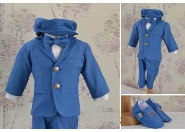 Costume botez baieti de vara, in albastru CIEL, croiala moderna cu sacou cambrat