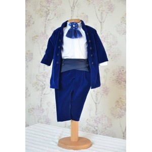 Costum de botez baiat elegant toamna-iarna Blue Boy catifea albastra, 7 piese