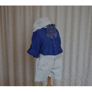 Costum de botez baieti ieftin de vara Little Boy, cu bumbac albastru, 5 piese