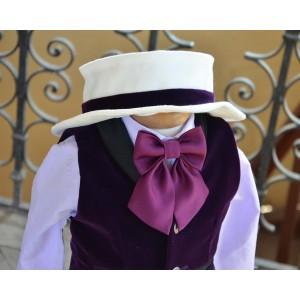 Costum de botez mov de vara baiat Gentleman Hat, catifea, 6 piese