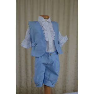 Costum de botez de vara baiat, BLUE LIGHT din in bleu si bumbac alb, 5 piese