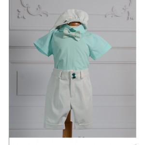 Costum de botez baiat vara Felix, camasa body aqua, 5 piese