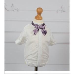 Costum de botez alb-ivoire de vara baieti CALAIS, camasa body, 5 piese