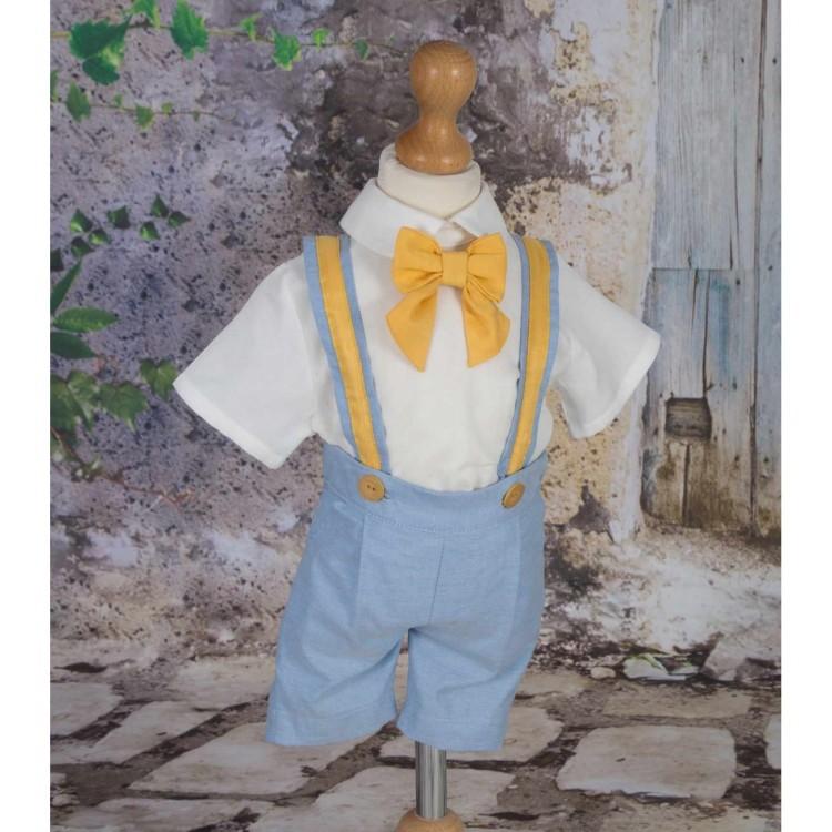Costum de botez vara baiat LITTLE BEN din stofa, 4 piese