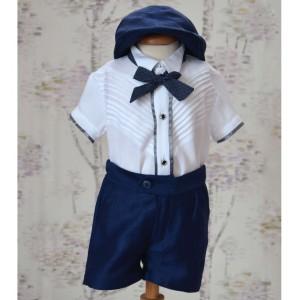 Costum de botez vara baiat EDY din in albastru, camasa body, 5 piese