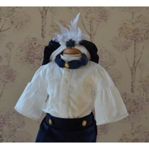 Costum de botez vara print baiat MARQUIS, din catifea si bumbac, 5 piese