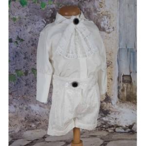 Costume de botez albe vara baiat STEFAN cu dantela, 4 piese