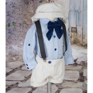 Costum de botez baiat pentru vara LEITH, din bumbac, camasa tip body, 6 piese