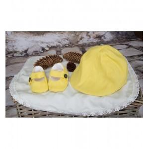 Costum de botez galben de vara baiat din IN, SUNNY, 6 piese